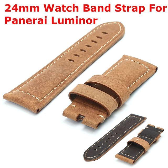 New Genuine Couro Handmade Assista Bracelete 24mm para Panerai Radiomir Assolumates Tang Buckle Strap Pulseira Marrom