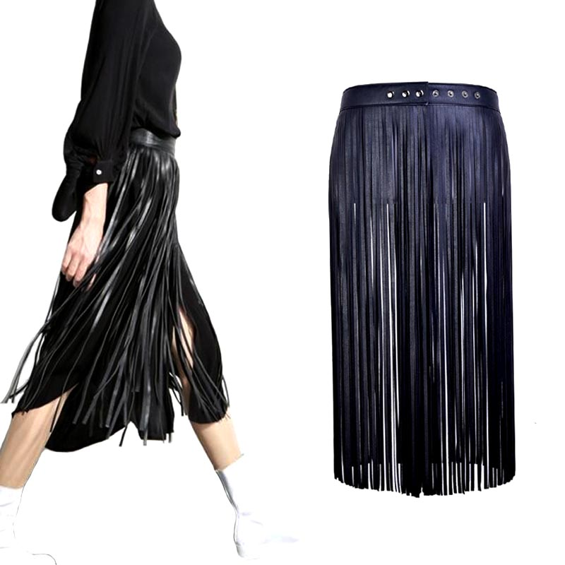 Hot sell Sexy Boho long tassel imitation leather   belts   fashion women High Waist Metal Buckle leather skirt   Belts   accessories