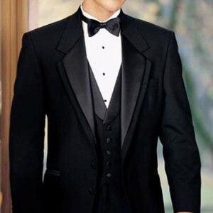 Image 2 - 黒新郎タキシード結婚式のための 3 ピース喫煙正式な男性のスーツスリムフィットメンズスーツセットジャケットパンツとベストファッション衣装