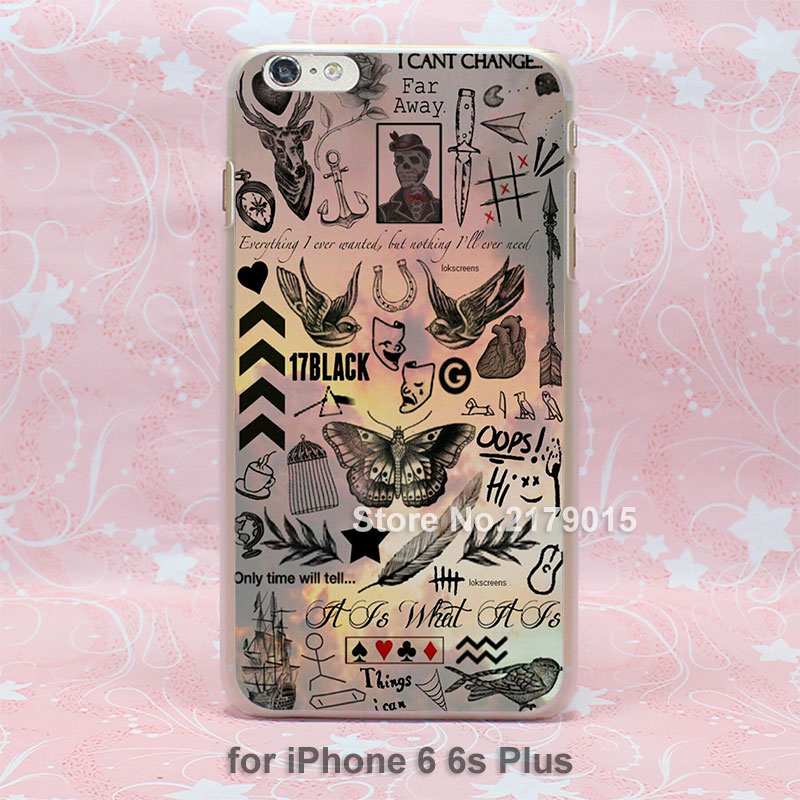 Boy Tattoos One Direction far away hard transparent clear Cover Case for Apple iPhone SE 4 4s 5 5s 5c 6 6s Plus