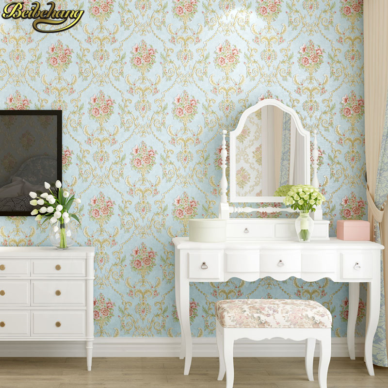 Купить с кэшбэком beibehang 53X300cm Embossed flowers Non-woven self adhesive wallpapers for living room decoration pink 3D wall papers home decor