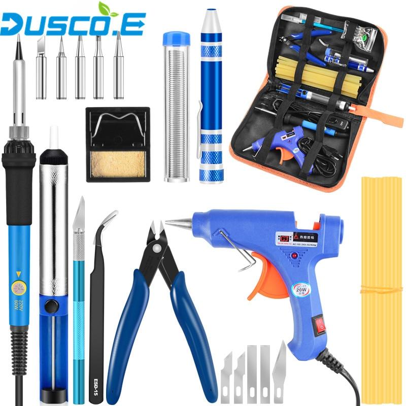 Adjustable Temperature Electric Soldering Iron EU US Plug 110V 220V 60W Welding Soldering Station Tip Solder Wire Tools Tweezers