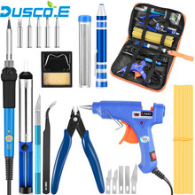 Adjustable Temperature Electric Soldering Iron EU US Plug 110V 220V 60W Welding station Tip Solder Wire Tools Tweezers