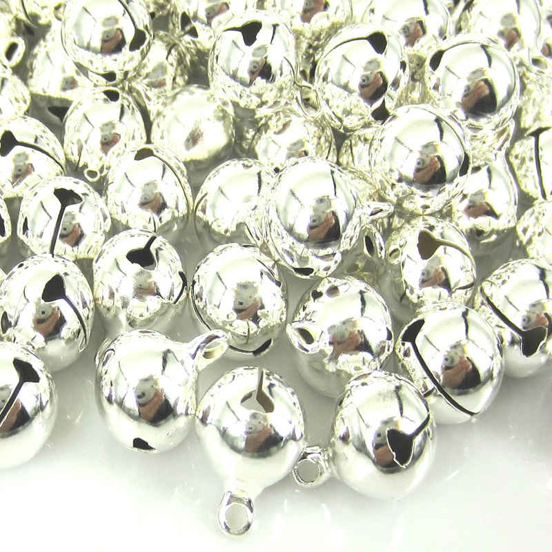 100Pcs Silver Jingle Bells Christmas Bell Loose Beads For Festival Party Decoration 12 x 15mm DIY Crafts Accessories