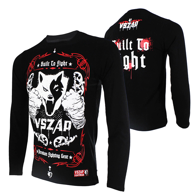 VSZAP BUILT 2 FIGHT Long Sleeve T-Shirt MMA Fight Fighting Muay Thai Shirt Mma Clothing Mma T Shirt Elasticity Offset Printing