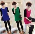 Autumn and winter long-sleeve T-shirt  women's basic shirt medium-long sweet woolen top shirt