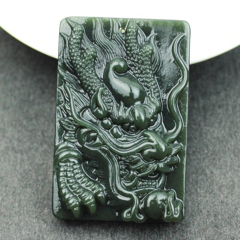 Pierre de néphrite verte naturelle sculptée à la main magnifiquement Dragon chinois amulette collier chanceux pendentif cadeau pour hommes bijoux Jades - 2