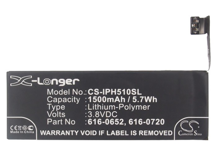 Battery A1457 A1529 A1530 IPhone 5s Apple 1500mah For A1234/A1457/A1516/.. Cameron 616-0652-616-0720