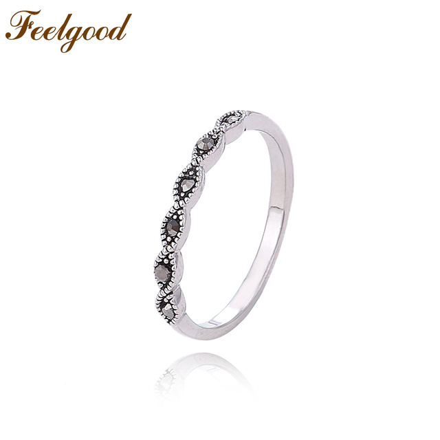 Feelgood Jewelry Female Small Ring Vintage Black Rhinestone Rings For Girl Lady Women Fashion Accessories