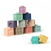 Купить с кэшбэком Babytry Embossed Silicone Building Blocks 3D Touch Hand Ball Blocks Baby Grasp Toys Fun Rubber Teethers Squeeze Baby Toys Gifts