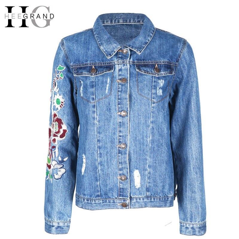 Hee grand new embroidery jeans jacket women denim elegant