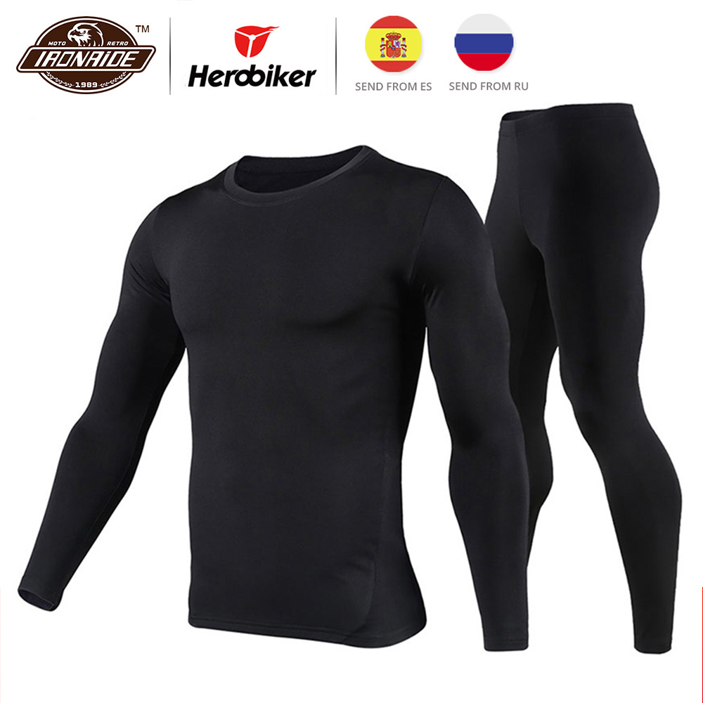 Herobiker mannen Fleece Gevoerde Thermisch Ondergoed Set Motorfiets Skiën Base Layer Winter Warme Lange Onderbroek Shirts & Tops Bottom pak