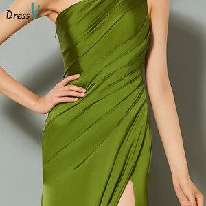 Image 4 - Dressv verde elegante vestido de noite bainha tribunal trem de um ombro split frente casamento coluna vestido de festa formal vestidos de noite