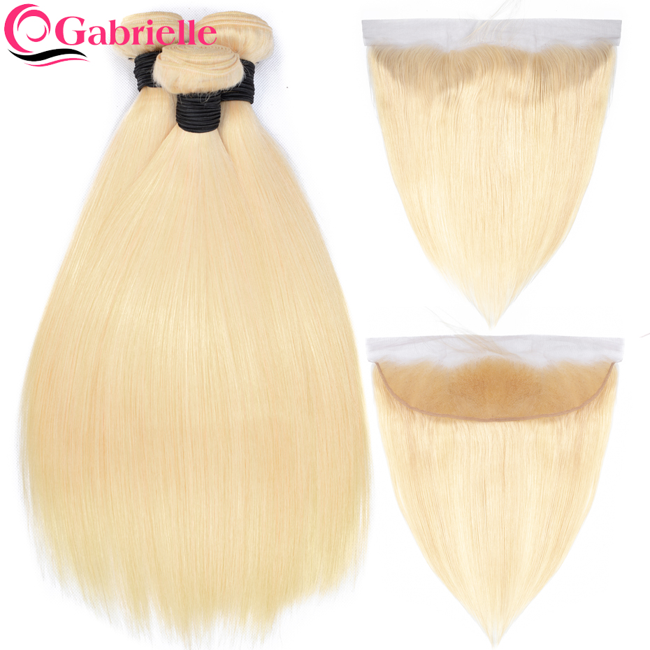Gabrielle Remy Hair 613 Bundles with Frontal Brazilian Straight Human Hair Bundles with Closure Blonde Hair