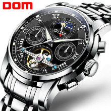 DOM New Japan Mechanical Watch Wristwatches Automatic Mens Watch Top Brand Luxury Casual Leather Waterproof Watch Men M 75D 1MH