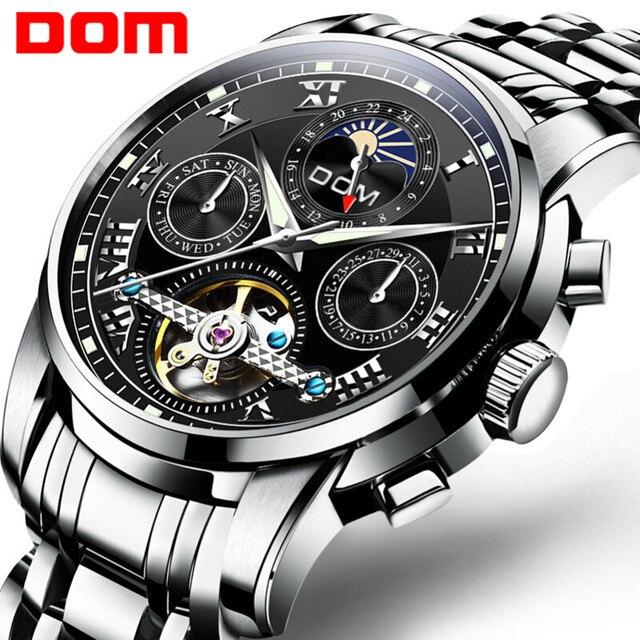 DOM جديد اليابان الميكانيكية ساعة المعصم التلقائي ساعة رجالي العلامة التجارية الفاخرة ساعة جلدية عادية مقاوم للماء الرجال M 75D 1MH