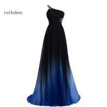 Ruthshen bir omuz balo kıyafetleri 2018 ucuz siyah ve mavi boncuklu pilili şifon Backless örgün abiye giyim Vestido Azul