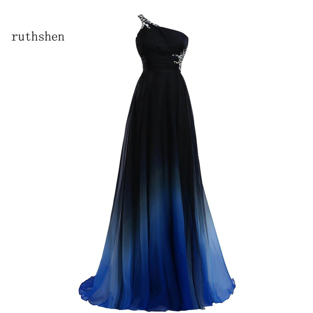 ruthshen One Shoulder Prom Dresses 2017 Cheap Black And Blue Beaded Pleated Chiffon Backless Formal Evening Gowns Vestido Azul