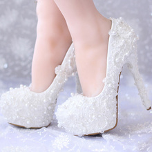 White Lace Wedding Shoes High Heels Handmade Bridal Dress Shoes Platform Bridesmaid Shoes Women Formal Pumps 14cm Heels