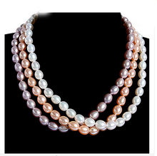 Wedding Top Natural Freshwater pearl 9-10mm Real Oval pearl Necklace highlight Fashion Handmade Choker women Jewelry