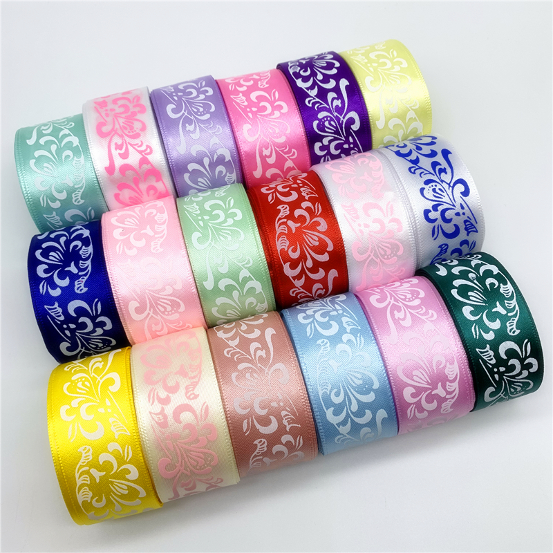 5yards 25mm Polyester Ribbon Printing Flower Ribbon For Christmas Decoration