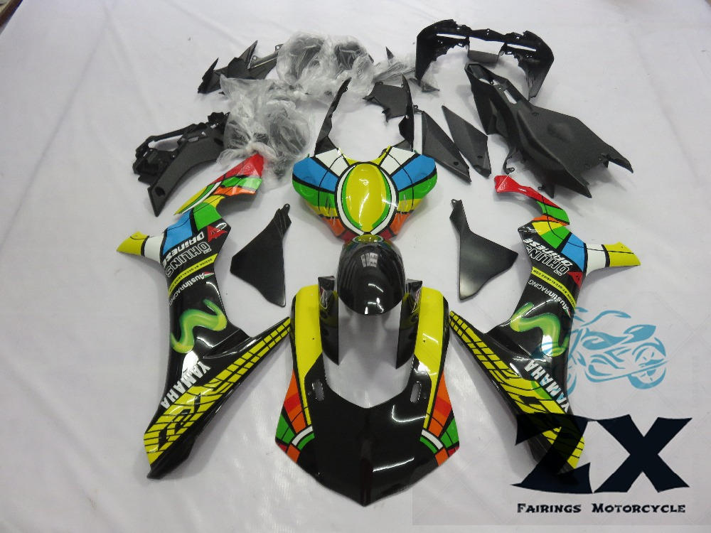 Complete Fairings Injection Motorcycle Fairings For Yamaha YZF R1 15 16 YZF-R1 2015 2016 Complete Fairing Kit Cowlings New motorcycle fairings for yamaha yzf r1 1000 yzf r1 yzf r1000 2009 2010 2011 abs plastic injection fairing bodywork kit gray