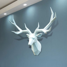 3D Antelope Head Abstract Sculpture European Style Home Hanging Dector Living Room Wall Decoration Resin Deer Statues