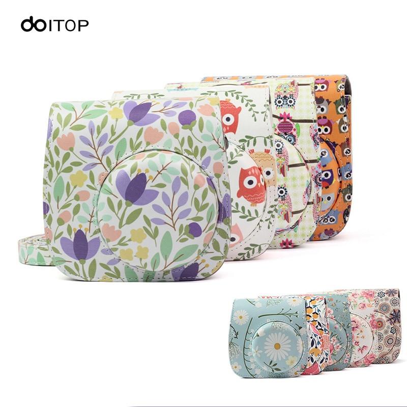DOITOP Camera Bag Protector Case Pouch For Polaroid Fujifilm Instax Mini 8 8+ 9 PU Leather Shoulder Bag Instant Film Handbags