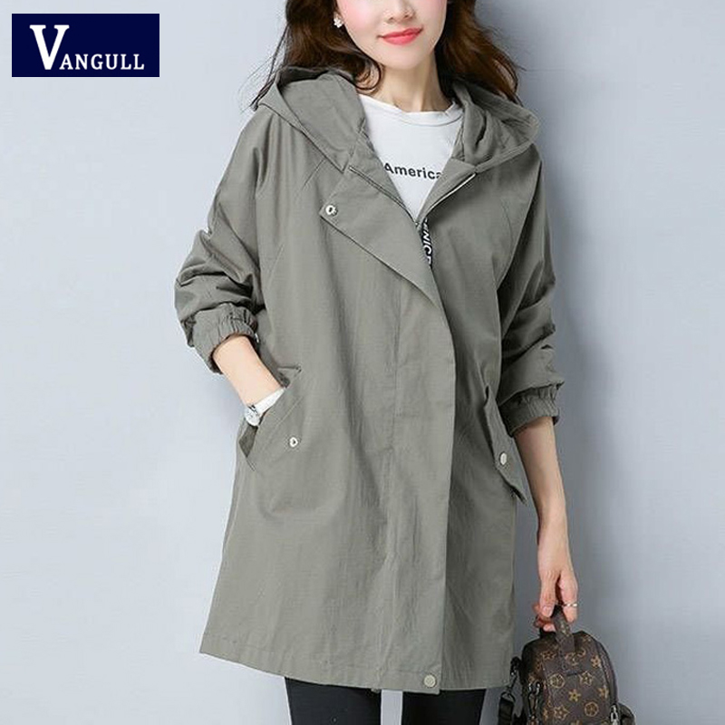 Vangull Women   Trench   Coat Female Long Sleeve Thin Hooded Wind Coat 2019 Autumn New Plus Size Loose Zipper Adjust Waist Outerwear
