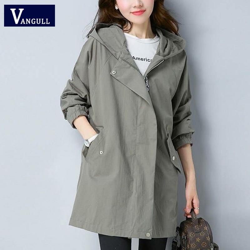 Vangull Women   Trench   Coat Female Long Sleeve Thin Hooded Wind Coat 2019 Autumn New Plus Size Loose Zipper Adjust Waist Outerwear
