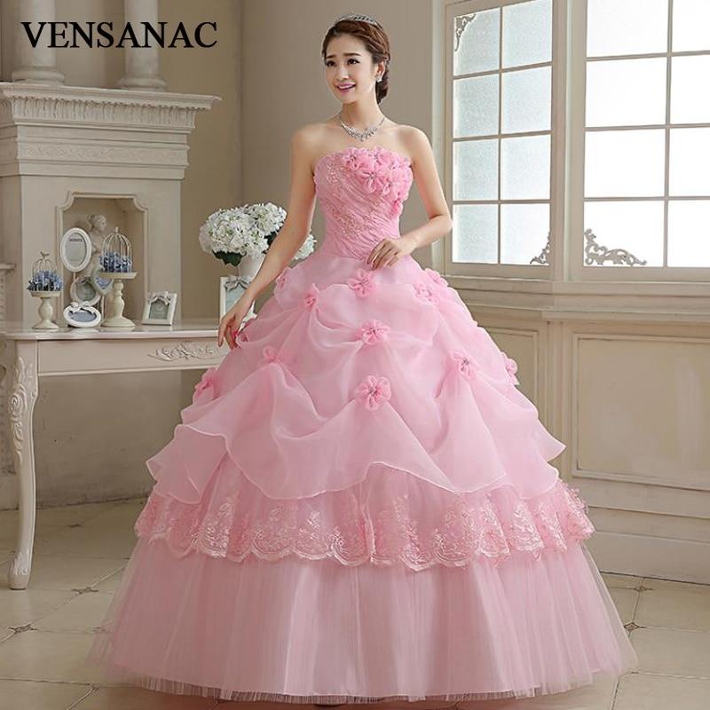 VENSANAC 2018 Baru A-line Bunga Strapless Off Shoulder Tanpa Lengan - Gaun pengantin