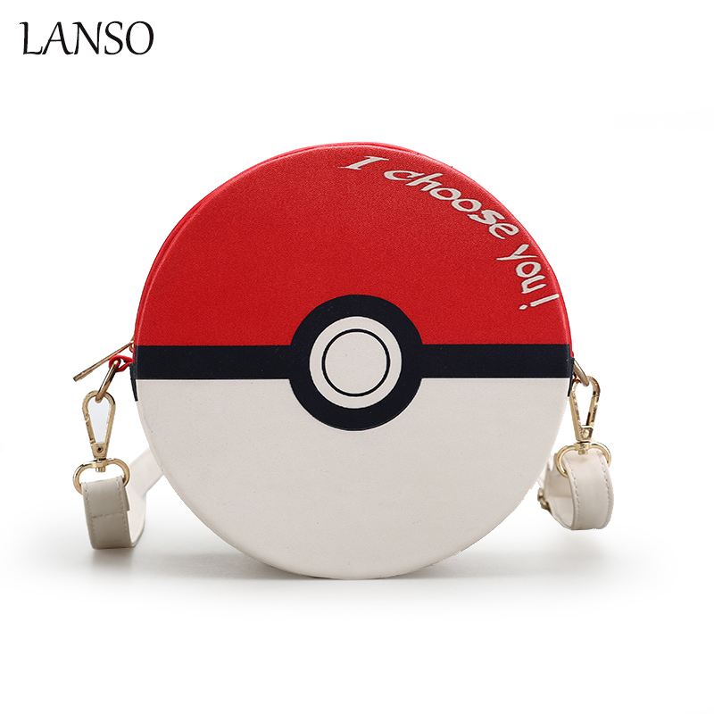 Pokemon Rund Limited Shoulder Bag Cute Cartoon Wizard Ball Circular Messenger Bags Funny Personality Crossbody Original Design