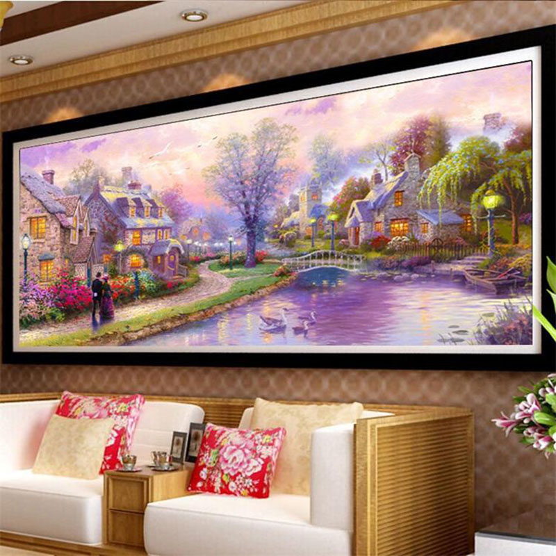 5D Diy Diamond Embroidery Scenic Oil Painting Town Full Mosaic - Արվեստ, արհեստ և կարի - Լուսանկար 1