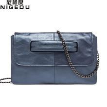 NIGEDU brand Genuine Leather women's envelope clutch bag Chain Crossbody Bags for women handbag messenger bag Ladies Clutches