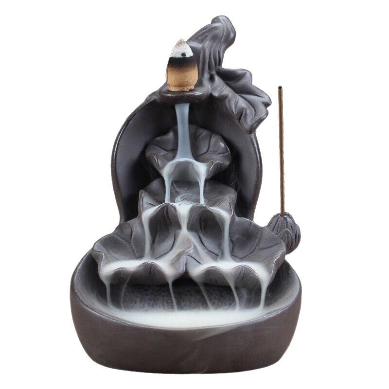 Gourd And Lotus Waterfall Backflow Incense Burner Censer Purple Clay Aroma Smoke Aromatherapy Home Decor