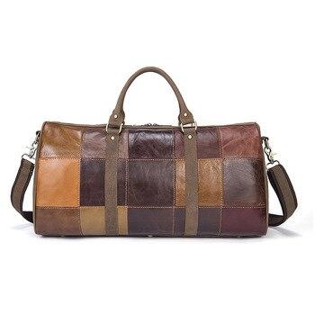 Genuine Leather Plaid Men Travel Duffel Vintage Large Capaity Luggage Handbag Cow Shoulder Bag Bolsa Viaje