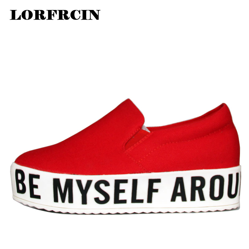 LORFRCIN Canvas Shoes 2018 Fashion Creepers Platform Shoes Slip On Women's Casual Shoes Women Loafers Flats For Woman Size 41-44 minika women shoes summer flats breathable lace loafers platform wedges lose weight creepers platform slip on shoes woman cd41