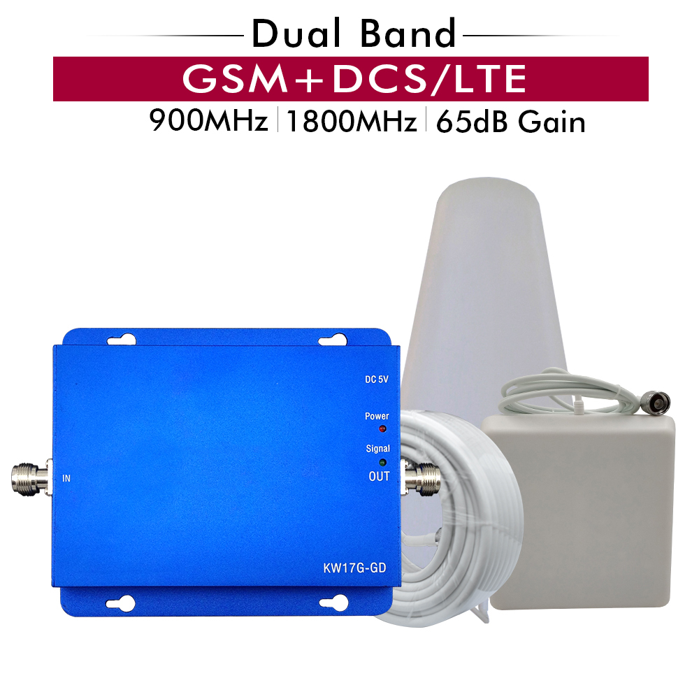 2G 3G 4G Signal Booster GSM 900+DCS/LTE 1800 Mhz Cell Phone Mobile Signal Repeater Cellular Amplifier 65dB Dual Band Booster Set