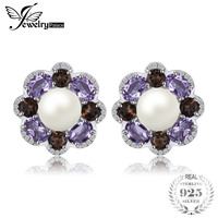JewelryPalace Flower 6mm Cultured Pearl 2.1ct Natural Smoky Quartz Amethyst Cluster Clip Earrings 925 Sterling Silver Jewelry