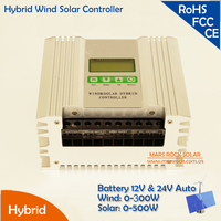 Solar Power 0 500W, Wind Power 0 300W, 12V and 24V Auto Hybrid Wind Solar Charger Controller Wide Range Power Adjustable