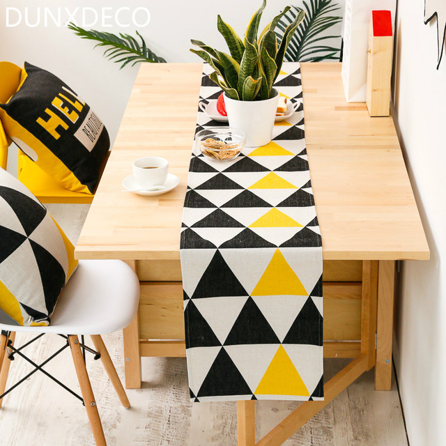 Bon DUNXDECO Table Runner Long Table Cover Fabric Modern Yellow Black Triangle  Geometric Cotton Blend Mat Home