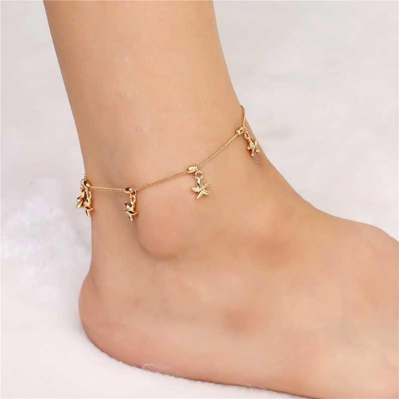 SHUANGR Sıcak Satış Altın Rengi Moda Halhal Yalınayak Tığ Sandalet ayak takısı Ayak Bileği Bilezikler Kadınlar Için Çizme Zinciri Bilezik