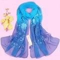 Женщины весна и осень синий шелк шарф вышивка цветок шелк shawlsfemale длинная дизайн шелк mulberry scarf180 * 55 см