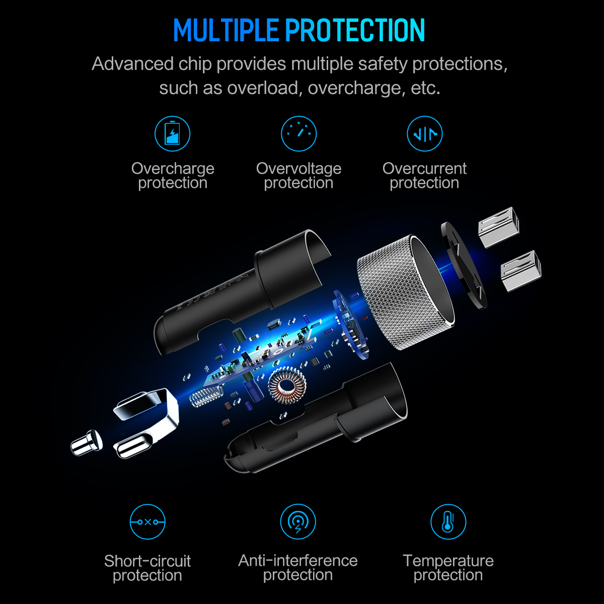 HTB1iv1EA21TBuNjy0Fjq6yjyXXaP - ROCK 5V 3.4A Metal Dual USB Car Charger Digital Display For iPhone X 8 XS MAX 7 Xiaomi Samsung Fast Charging Voltage Monitoring