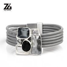 ZG NEW ARRIVAL Magnetic Clasp Leather women jewelry with Color Metal Charms in 3 color