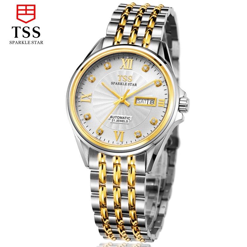 TSS japan MIYOTA 8205 Automatic movement daydate watch male watch leisure business fashion men 's watches waterproof hollow  виброплита тсс tss vp60s 207246
