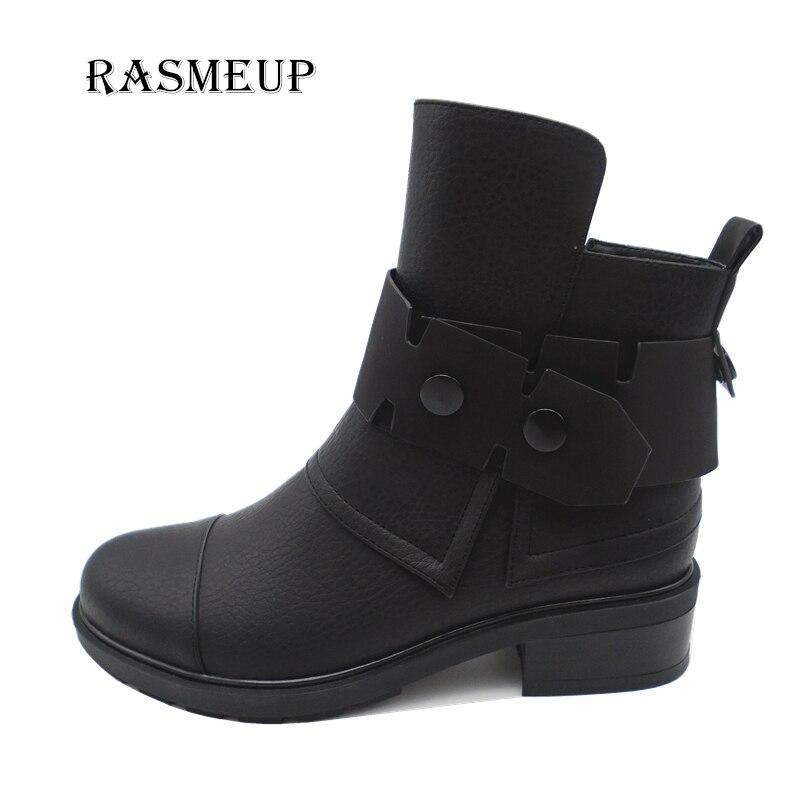 RASMEUP 2017 New Fashion Irregular Top Leather Women Ankle Boots Round Toe Buckle Zipper Martin Boots Autumn Winter Women Shoes воск beauty image воск в кассетах белый 145 гр