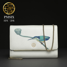 Pmsix 2017 Chinese style fashion print cowhide wild casual leather clutch handbags women P210012