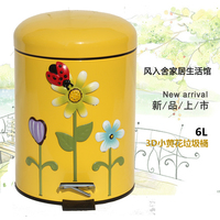 Household kitchen living room bathroom trash can mute foot Descent have stainless steel lid cushion cute