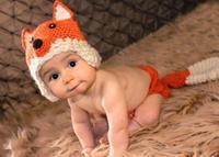 Atacado Bebê recém-nascido fotografia adereços raposa Bonito chapéu do bebê roupas de bebê de crochê acessórios feitos à mão do bebê chapéu crianças HK546